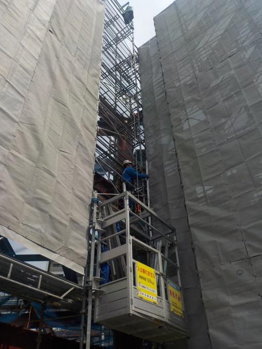 鉄骨造4階建て新築現場